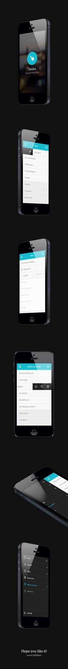 Phone To Do's App - Tasuku by Ismail MESBAH, via Behance