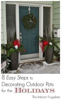 How to make beautiful outdoor Christmas urns Eight easy steps to fill outdoor planters for the holidays with natural evergreens found in your own back yard.