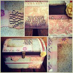 Un baúl de la prosperidad Decolores. Mensajes, retazos de papel, encaje, los colores y mucho cariño en cada pega. Este es muy especial, preparado para ser entregado a una novia mágica: Guasi las bendiciones para que toda la vibra que se encuentre dentro de este baúl se triplique durante toda la historia que se escribirás junto a Roberto.  #weddingdecoration #boda #decoracion #vintage #love #amor #photooftheday #flores #flowers #crafts #decolores #caracas #novia #bride #fiesta