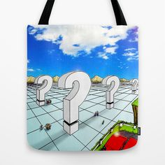 In the Valley of the Big Questions Tote Bag by Peter Gross - $22.00
