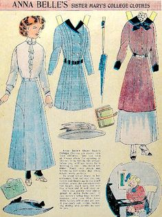 Anna Belle's Sister Mary's College Clothes paper doll 1910