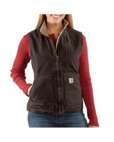 Carhartt Women's Sandstone Mock-Neck Vest - Sherpa-Lined
