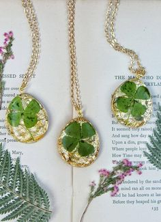Four Leaf Clover Necklace Lucky Jewelry Resin Necklace Real
