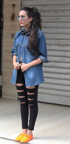 Denim shirt with ripped leggings #denim #blogger #fashionblogger