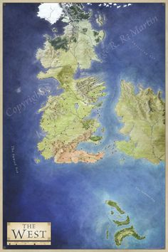 Map of the West for George RR Martin's series A Song of Ice and Fire, detailing Westeros, the Summer Isles, the free cities and the Narrow Sea