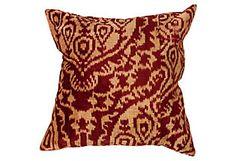 nuLOOM Silk Velvet Ikat Pillow, Merlot pillow
