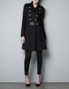 OVERCOAT WITH BELLOWS POCKET AND BELT - Coats - Woman - ZARA United States