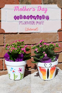 Using a few dollar store items, you can make these beautiful flower pots with your baby or toddler. They include toe print caterpillars, a footprint butterfly and fingerprint flowers.
