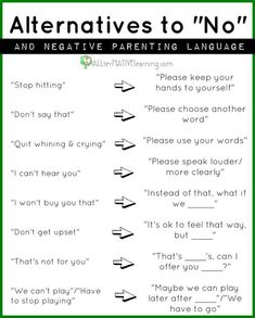 "Positive parenting - Alternatives to ""No"""