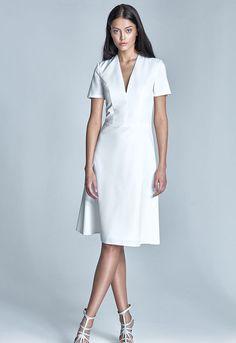 c5479ac48b577 Robe femme décolleté écru manches courtes chic mode S71 Nife  habill Robe  Évasée, Robe
