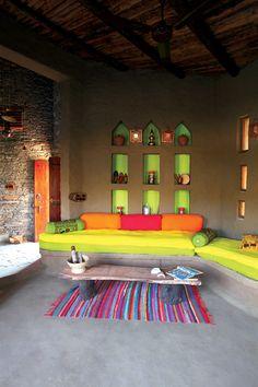 The Living Room Photograph of Lakshman Sagar Resort, Jodhpur, India for ELLE DECOR India by Tanuj Ahuja