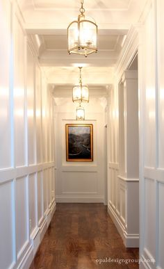 For A Long Boring Hallway {and what not to do} opal-design-group-wainscoting-hall-coffered-ceiling-brass-pendant-lanterns-white-gloss-paintopal-design-group-wainscoting-hall-coffered-ceiling-brass-pendant-lanterns-white-gloss-paint Bright Hallway, Long Hallway, Upstairs Hallway, White Hallway, Upstairs Landing, Hallway Walls, Entry Way Design, Entrance Design, House Entrance