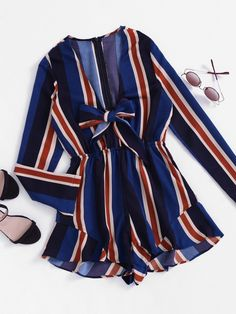 Shop Plunging V-neckline Striped Bow Tie Front Frill Romper online. SheIn offers Plunging V-neckline Striped Bow Tie Front Frill Romper & more to fit your fashionable needs. Summer Outfits, Cute Outfits, Fashion Outfits, Womens Fashion, Fashion Trends, Fashion Fashion, Fashion Ideas, Vintage Fashion, Long Sleeve Romper