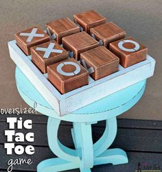 Directions on howto make a homemade oversize Wooden Tic Tac Toe Game that would be perfect for family game night and more!