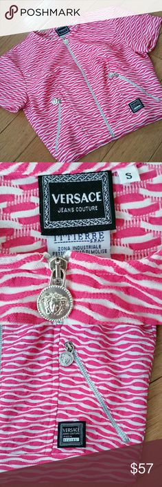 """Vintage Versace Jeans Couture top sz S Excellent condition for vintage circa 1990s. No stains or rips. Pink and white wavy line print. * 100 % polyester  * some tarnishing to silver hardware  * crop top style, zipper front * length 16.5"""" * armpit to armpit 15"""" * Made in Italy Versace Tops Crop Tops"""
