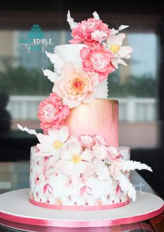 Soft coral wedding cake