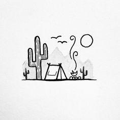Summer camp  • Idée de dessin simple d'une tente de camping dans le désert avec des grands cactus