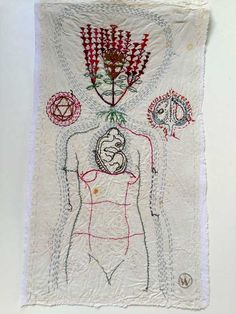 WOMAN WITH TURTLE | Hand stitched with cotton thread on found, vintage domestic textile. Stained and heavily starched. Photo: Etienne de Villiers