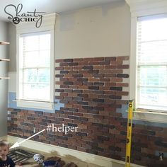 Easy tutorial on how to install a DIY Thin Brick Wall by Brick Accent Walls, Faux Brick Walls, Exposed Brick Walls, Brick Fireplace, Brick Veneer Wall, Thin Brick Veneer, Brick Columns, Brick Interior, Interior Design