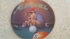 Camel's collector plate,Limited Joe Camel Playing Pool,Vintage Tobacco advertising,Cigarette collectible,R. Reynolds by SocialmarysTreasures on Etsy The Collector, Vintage Advertisements, Camel, Advertising, Plate, Display, Etsy, Collection, Floor Space