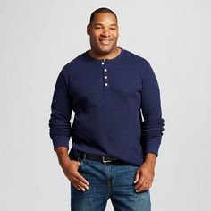 Men's Big & Tall Long Sleeve Thermal Henley