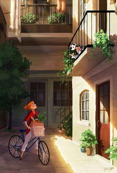 Illustrator Yaoyao Ma Van As. Yaoyao Ma Van As, or shortly YaoYao art director, painter, illustrator, and occasional animator. For more view website Buch Design, Illustration Mode, Website Illustration, Digital Art Girl, Cute Cartoon Wallpapers, Anime Scenery, Anime Art Girl, Aesthetic Art, Cartoon Art