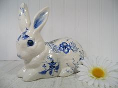 Vintage Delft Blue Style Hand Painted Ceramic Bunny - Decorative Blue Florals on Crackled White Finish Pottery Large Rabbit - Cottage Decor by DivineOrders