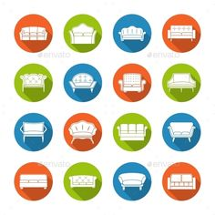Sofa Icons Flat by macrovector Sofa couches modern furniture room decoration icons flat set isolated vector illustration.Editable EPS and Render in JPG format