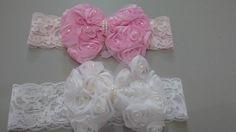 Faixas de renda laço com pérolas; 🎀🎀🎀🎀 Valor 10,00😱😱😱 #headband #newborn #recemnascida #white #rosegold #lacos #acessorio