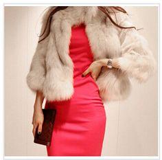 Faux Leather Fox Fur Coat 2015 New Spring Short Ladies Outerwear XXL Warm Fashion Casacos Femininos Stand Collar