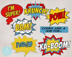 Printable Comic Photo Booth Props Superhero Photo Booth