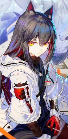 Fanart sub for Arknights, a fantasy tower defense mobile game developed by Hypergryph. Anime Wolf Girl, Manga Anime Girl, Anime Girl Drawings, Anime Neko, Kawaii Anime Girl, Anime Artwork, Fille Anime Cool, Cool Anime Girl, Pretty Anime Girl