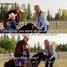 Lyndy's first pony ride with Grampa and Mamma Heartland Season 11, Watch Heartland, Heartland Quotes, Heartland Ranch, Heartland Tv Show, Ty E Amy, Country Quotes, Tv Show Quotes, Cartoon Network Adventure Time