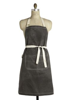 Waxed gray heavyweight cotton canvas apron