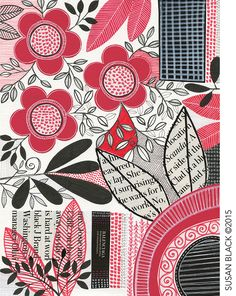 9 x 12 on paper - red & black floral - collage, assorted pens, markers & gel pen - Susan Black ©. Textiles, Textile Patterns, Print Patterns, Floral Illustrations, Illustration Art, Susan Black, Motif Floral, Black Artists, Painted Paper