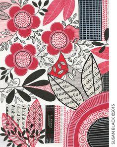 susan black design: red black floral