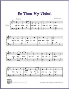 Be Thou My Vision (Hymn) | Free Sheet Music for Easy Piano - http://makingmusicfun.net/htm/f_printit_free_printable_sheet_music/be-thou-my-vision-piano.htm (Scheduled via TrafficWonker.com)