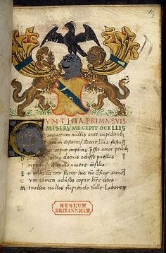Illuminated initial and added achievement of arms