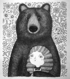 Girl and bear by #NathalieChoux