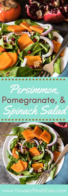 This festive Persimmon, Pomegranate, and Spinach Salad with a Maple Citrus Vinaigrette is easy to make and perfect for holiday dinners, using fresh produce available from late fall through winter. #persimmon #pomegranate #winter #salad #christmas #holiday