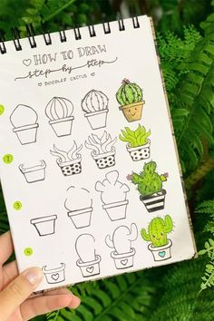 25 Best Succulent & Cactus Doodle Ideas For Bujo Addicts - Crazy Laura - Malen & Zeichnen - 20 Creative step by step cactus and succulent doodle ideas for your bullet journal - Bullet Journal Writing, Bullet Journal Ideas Pages, Bullet Journal Inspiration, Journal Prompts, Doodle Art For Beginners, Easy Doodle Art, How To Draw Doodle, How To Doodles, Cactus Doodle