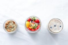 Jar Meals to-go, three ways contains three recipes using Cuppow jars, Blueberry Overnight Oats, Simple green salad with vinaigrette, Mexican salad bowl.