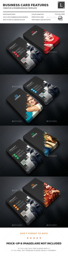 Photography Business Cards — Photoshop PSD #pack #red • Available here → https://graphicriver.net/item/photography-business-cards/16182076?ref=pxcr