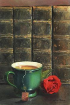 """""""Comforts of Old"""" - Oil painting by Anna Rose Bain."""