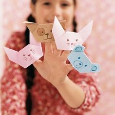 Marionnettes de doigts en origami/ puppets for fingers in origami