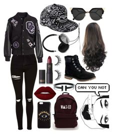 """""""Black and red"""" by colors-and-nerdyness on Polyvore featuring Topshop, Kenzo, Opening Ceremony, Timberland, Fendi, Lime Crime, Lipstick Queen and Frends"""