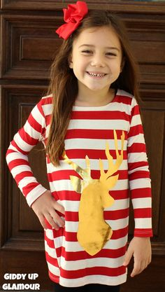 Kids Reindeer Games Red and White Stripe Tunic with Gold Foil Deer www.gugonline.com $19.95