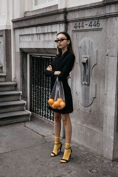 How To Wear Bright Yellow Socks With Sandals?! balenciaga 90's sunglasses trend tuxedo dress oranges in plastic bag conceptual editorial • The Fashion Cuisine