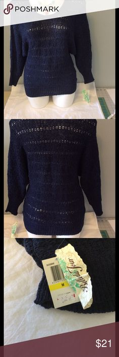 NWT Belle du Jour Sweater NWT sweater. Size medium.  Navy blue. Loose knit. Belle Du Jour Sweaters