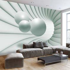Papier peint 3D dans l'esprit abstrait voire psychédélique pour un séjour ultra chic